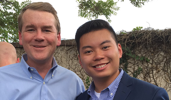 Sen. Michael Bennet with Johnnie Nguyen