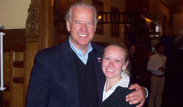 CU Denver student Sarah Moss with Joe Biden