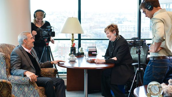 Guillermo Vidal talks with Chancellor Horrell.