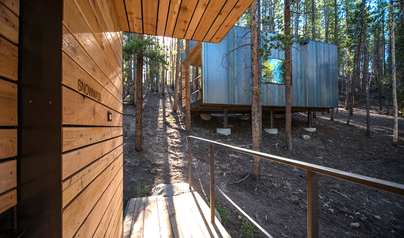 A porch on a cabin at Colorado Outward Bound in Leadville