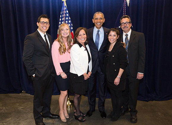 Justin Luke Riley and family with Barack Obama