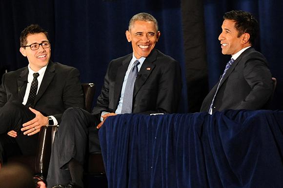 Justin Luke Riley (left) served on a panel alongside President Barack Obama and CNN correspondent Sanjay Gupta at the 2016 National Rx Drug Abuse and Heroin Summit.
