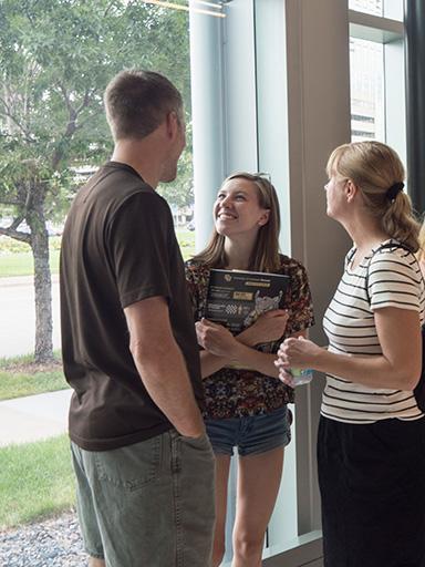 Emma Goetz with her parents, Dan and Lora