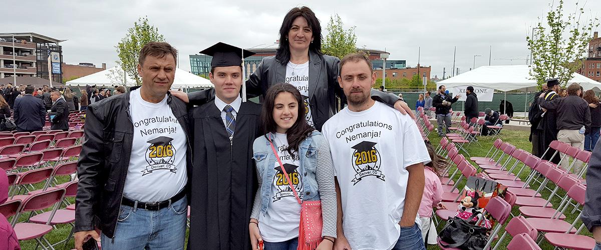 Nemanja Vukovic with his parents and siblings at graduation