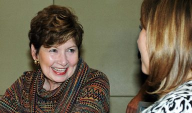 CU Denver chancellor Dorothy Horrell speaks with Kristen Lucci at the staff appreciation breakfast on Oct. 18.