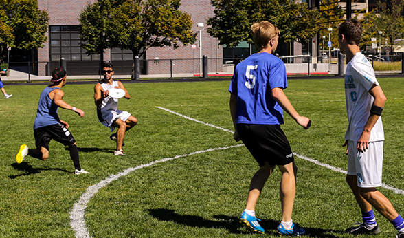 Ultimate Frisbee game at CU Denver