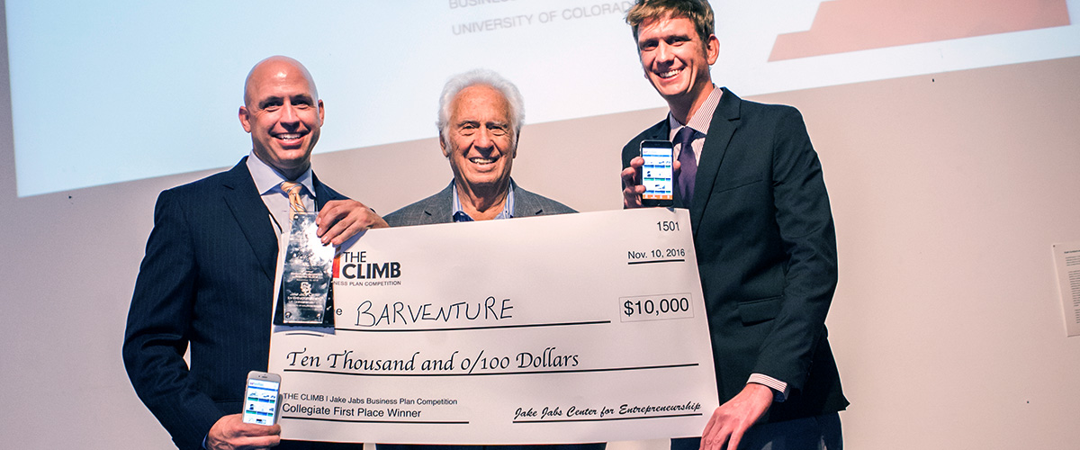 Jake Jabs presents check to The CLIMB winners, BARVENTURE
