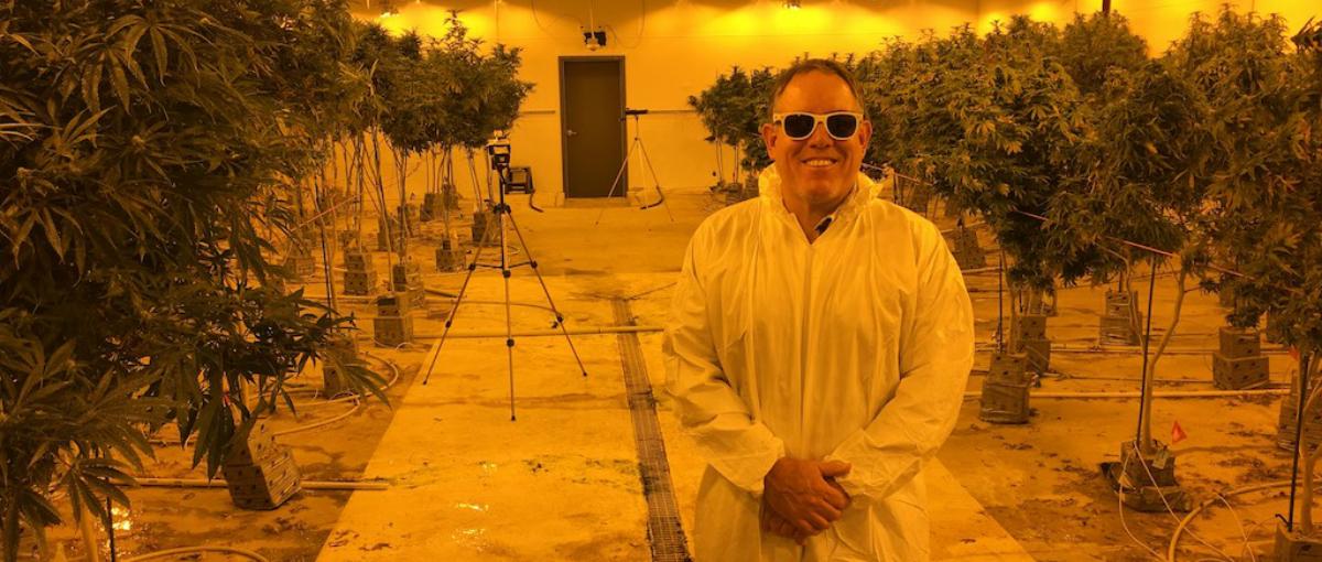 Marty Otañez in a grow house