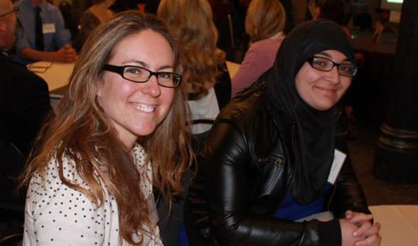 Reisher Scholars Jennifer and Ghalia at an orientation dinner