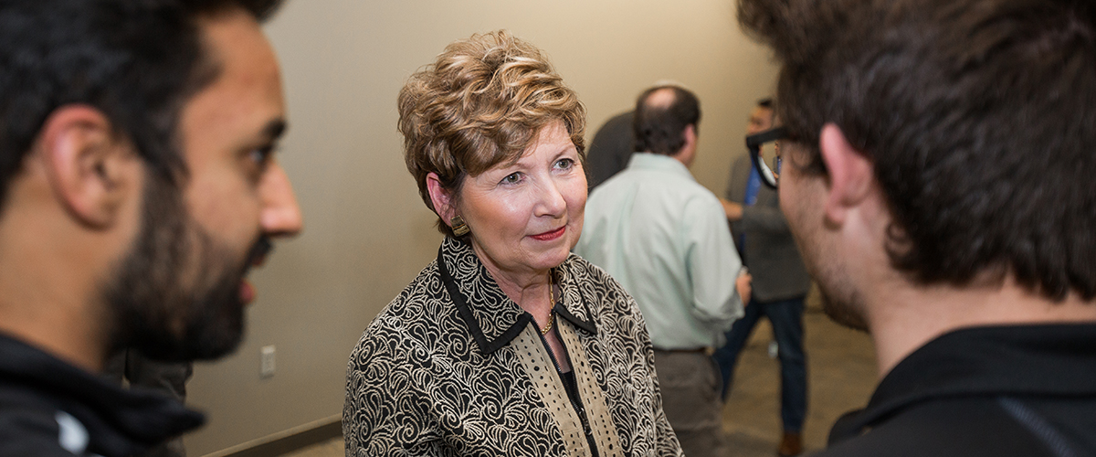 Chancellor Dorothy Horrell talks with students