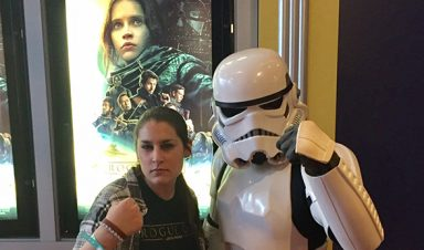 Rebecca Forth and storm trooper