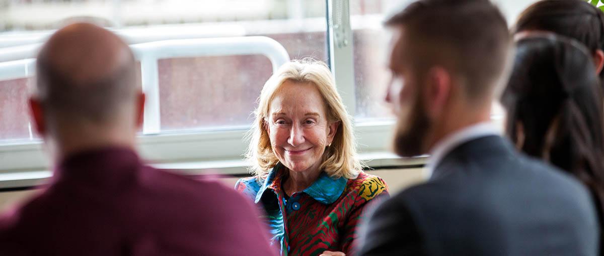 Presidential Historial Doris Kearns Goodwin and students