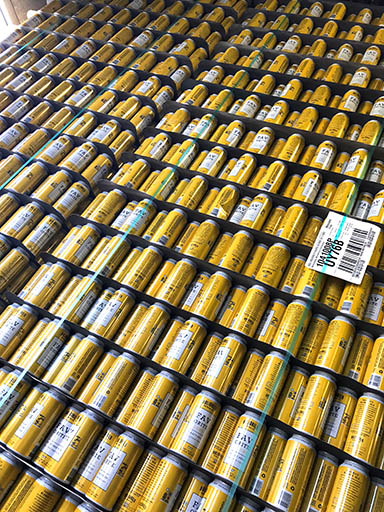 Stack of cans at Holidaily