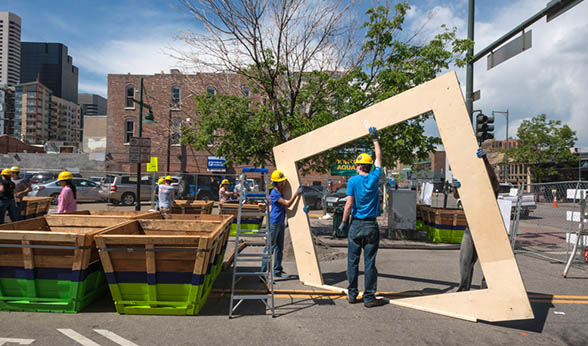 Students install entryways at Denver pop-up park.