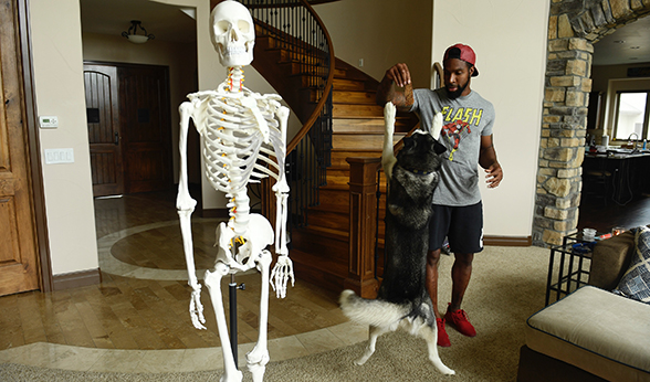 David Bruton with his skeleton