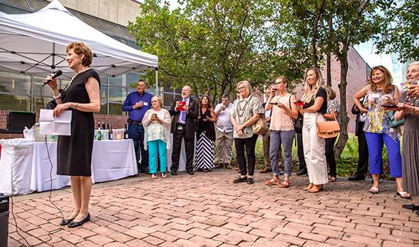 CU Denver Chancellor Dorothy Horrell at art reception