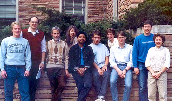 Benson with research group at CU Boulder and professor Tad Koch in 1988