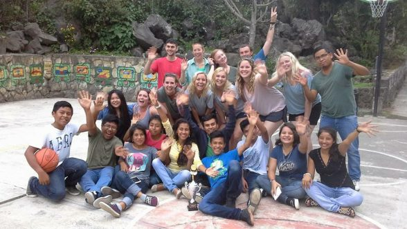 Maymester students with Guatemalan kids