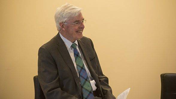 Provost Rod Nairn smiles at the January Campus Conversation