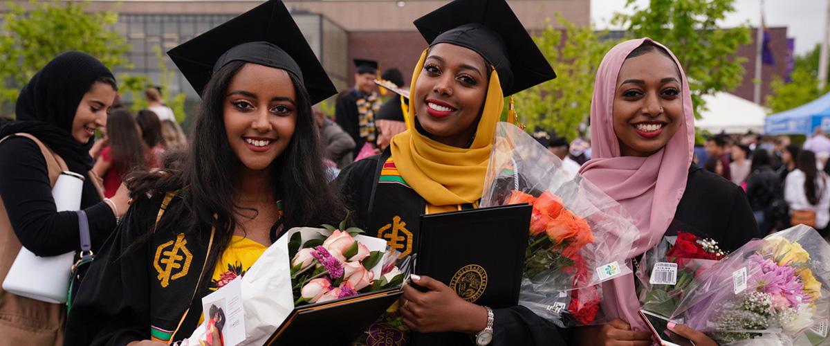 Three women at graduation