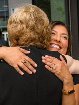 Horrell hugging Lola Salazar