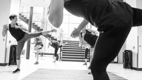 Group fitness kickboxing class