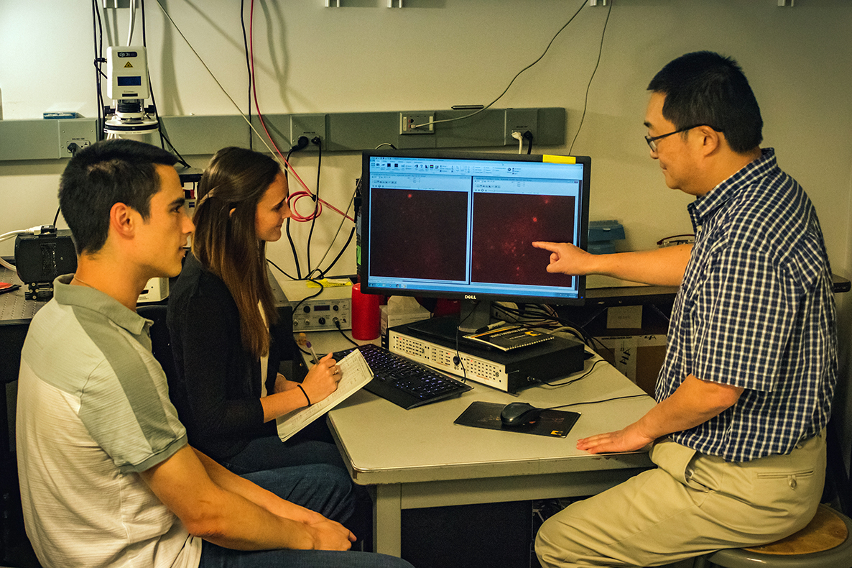 Three researchers sit around computer monitor