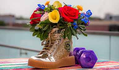 High-top shoe with flowers