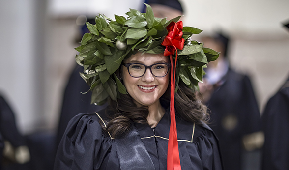 Graduate shows off her wreath hat