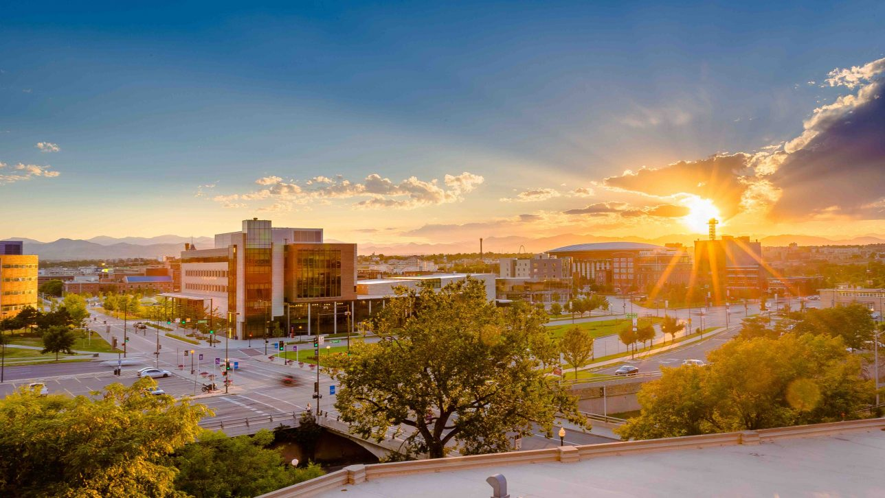 Overhead view of CU Denver campus