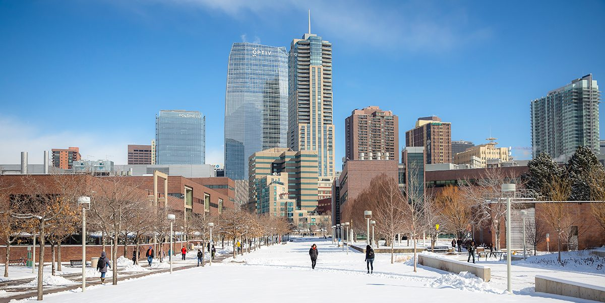 Snowy view of CU Denver campus and Denver skyline