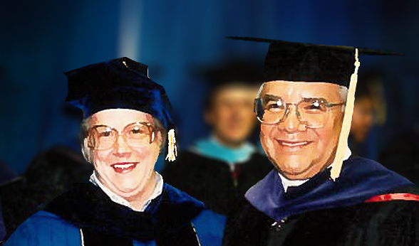 Chancellor Emerita Georgia Lesh-Laurie is standing on the left.