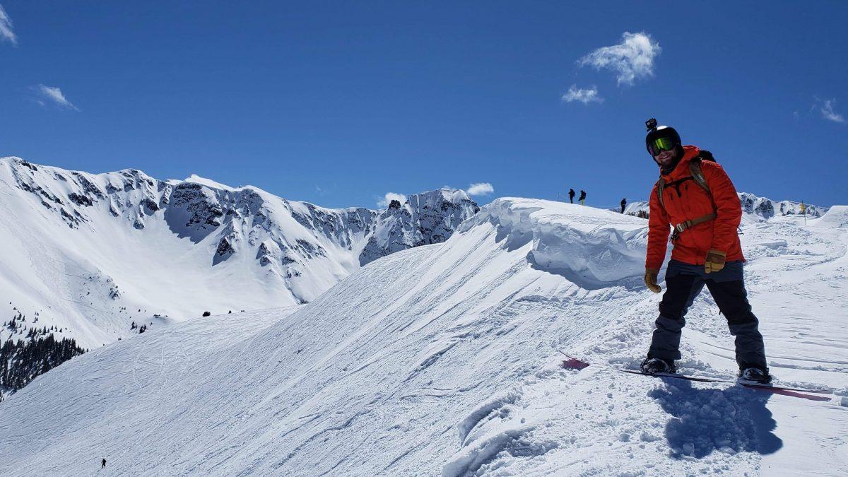 Alex Fletcher snowboarding.