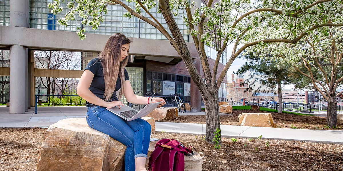Cynthia Rojo is working on her laptop while sitting on a rock.