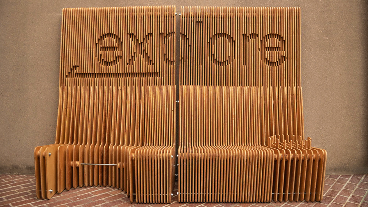 The explore wooden bench.