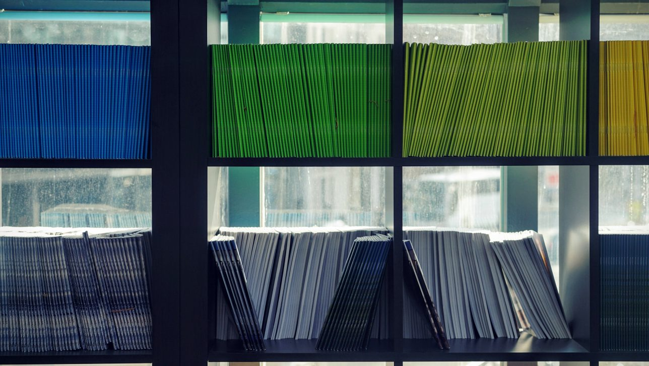 Black bookshelf with blue, green, and yellow journals lined up in a row. Photo by Maarten van den Heuvel on Unsplash.
