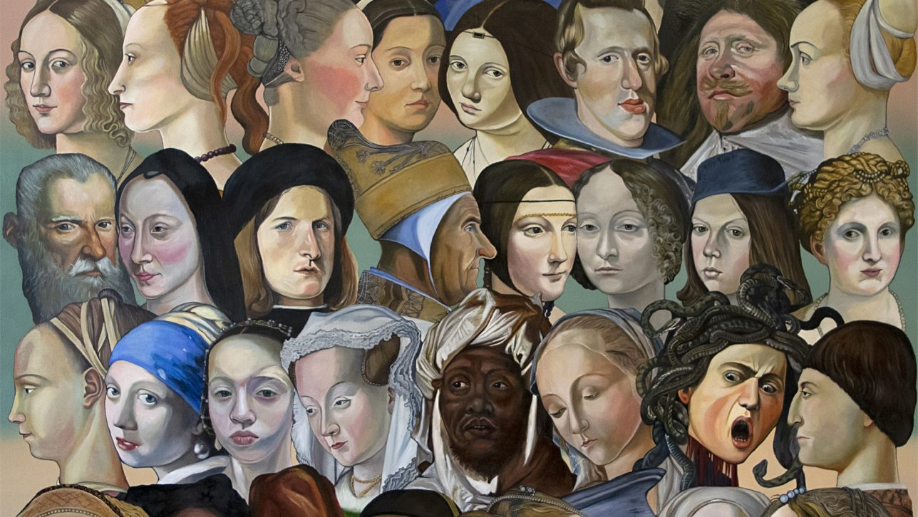 collage painting with heads from famous artworks
