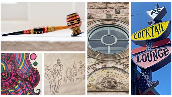 collage of pipe, art, stone church and PS Lounge