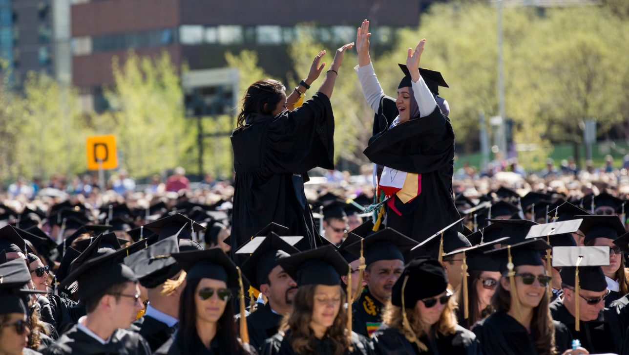 Nadeen Ibrahim at CU Denver's 2017 commencement ceremony