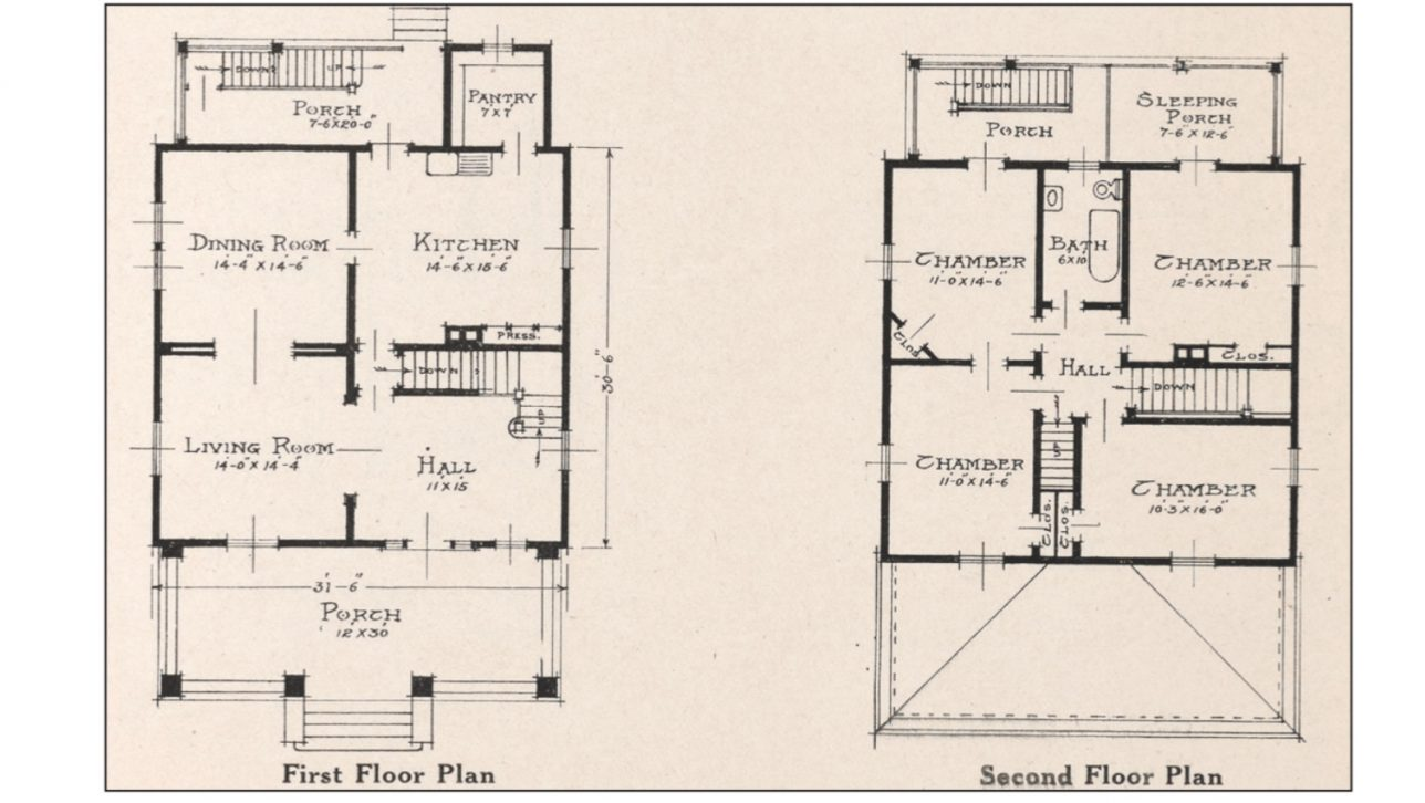 floor plan for a typical American Foursquare home