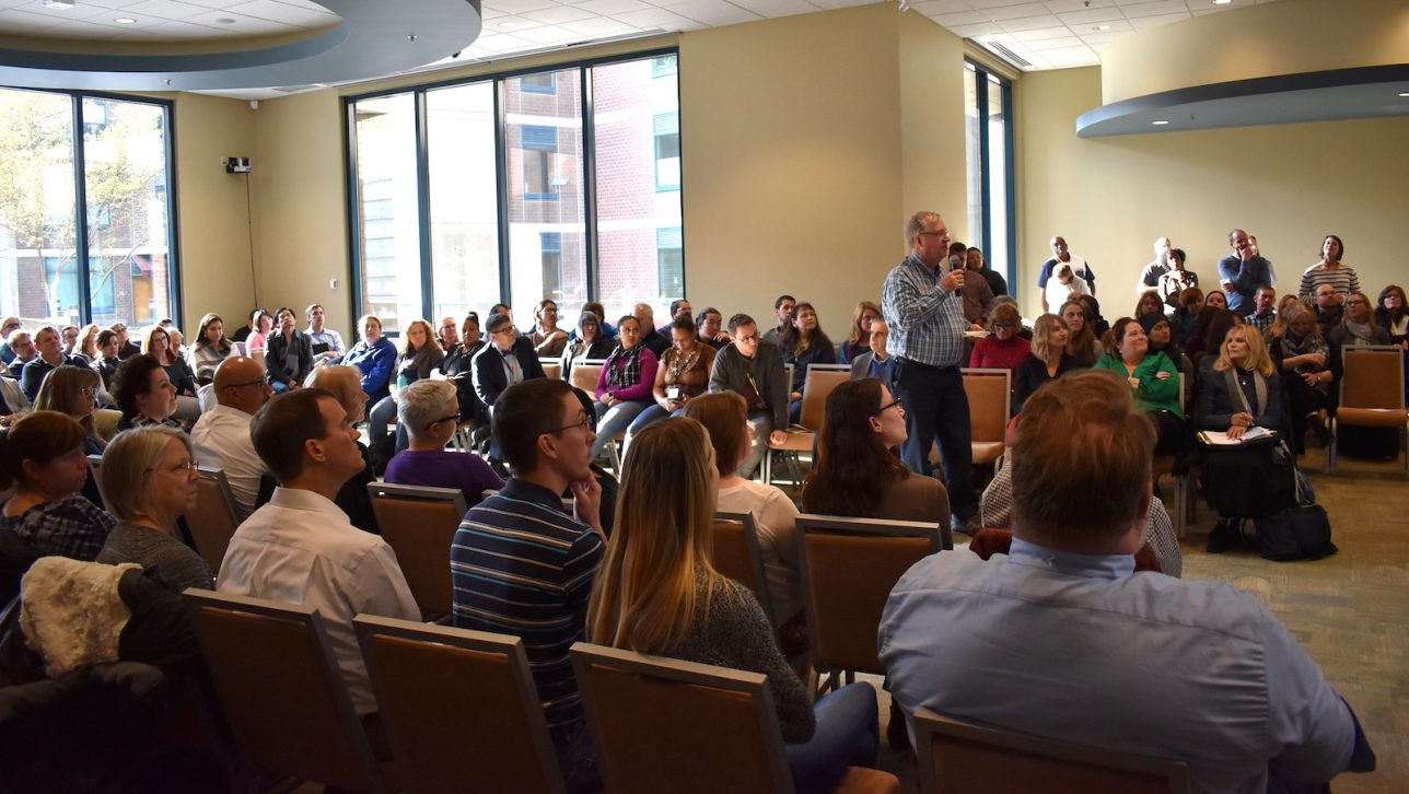 The Nov. 1 Campus Conversation on budget draws a full house.