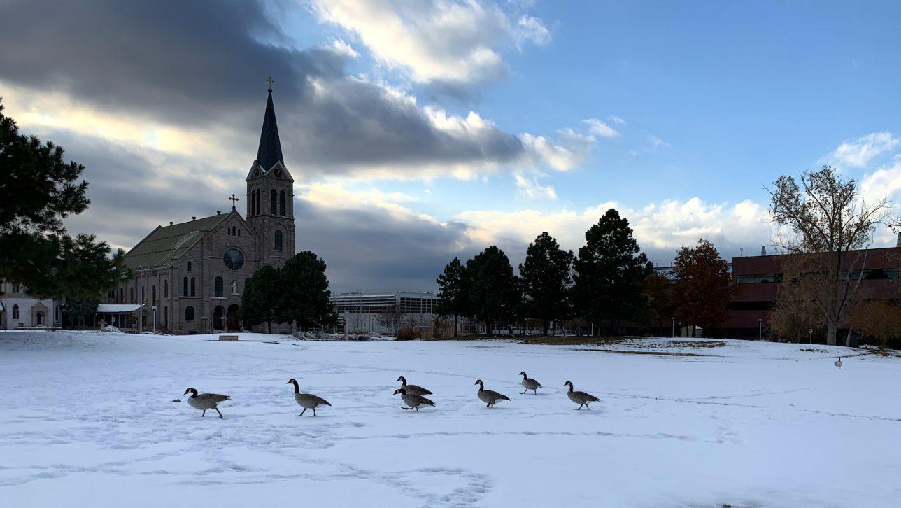 CU Denver campus snow, October 2019