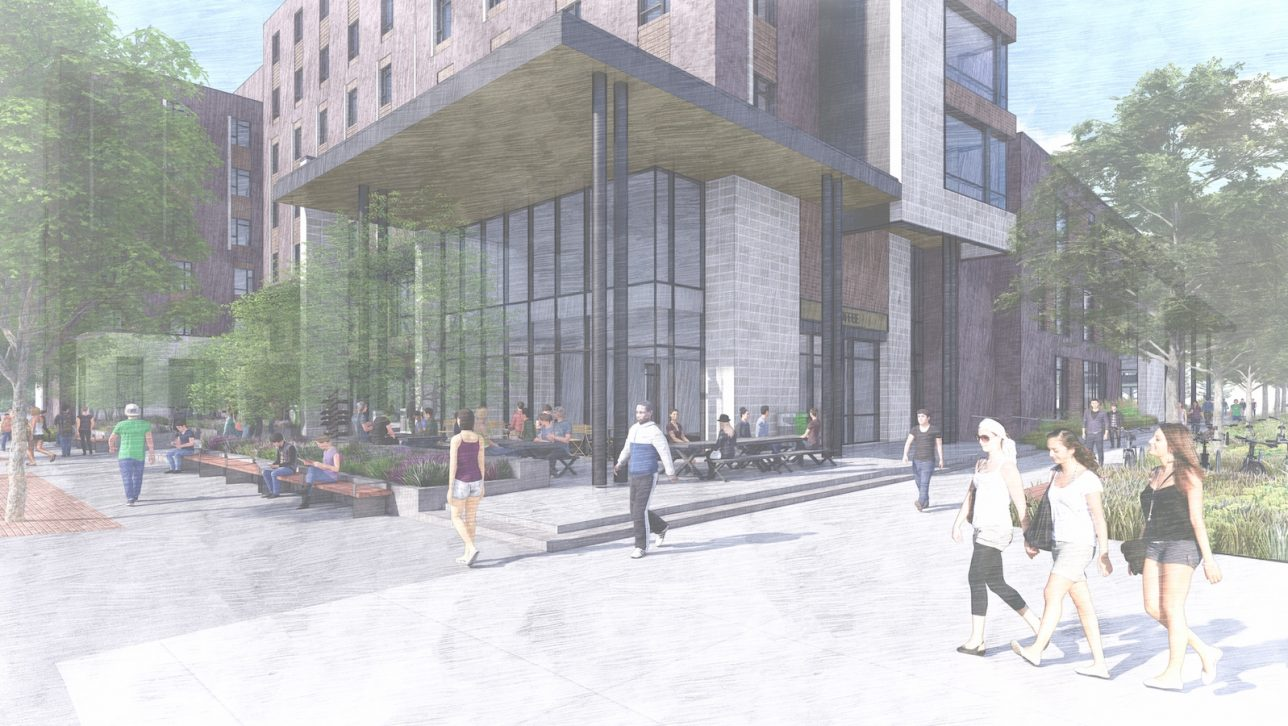 First-year student housing building rendering of 12th and Larimer Street entrance.