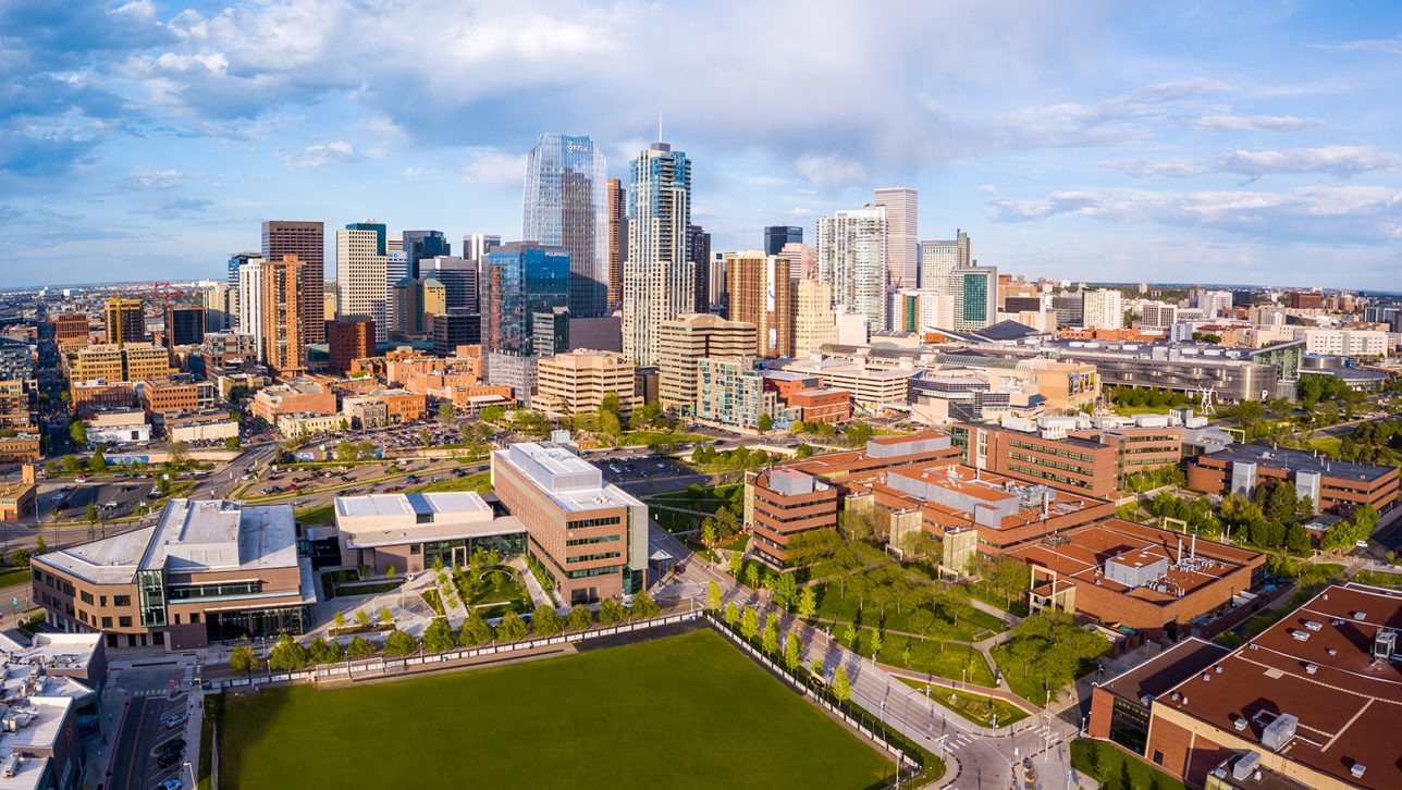 Aerial photo of Auraria Campus and Downtown Denver