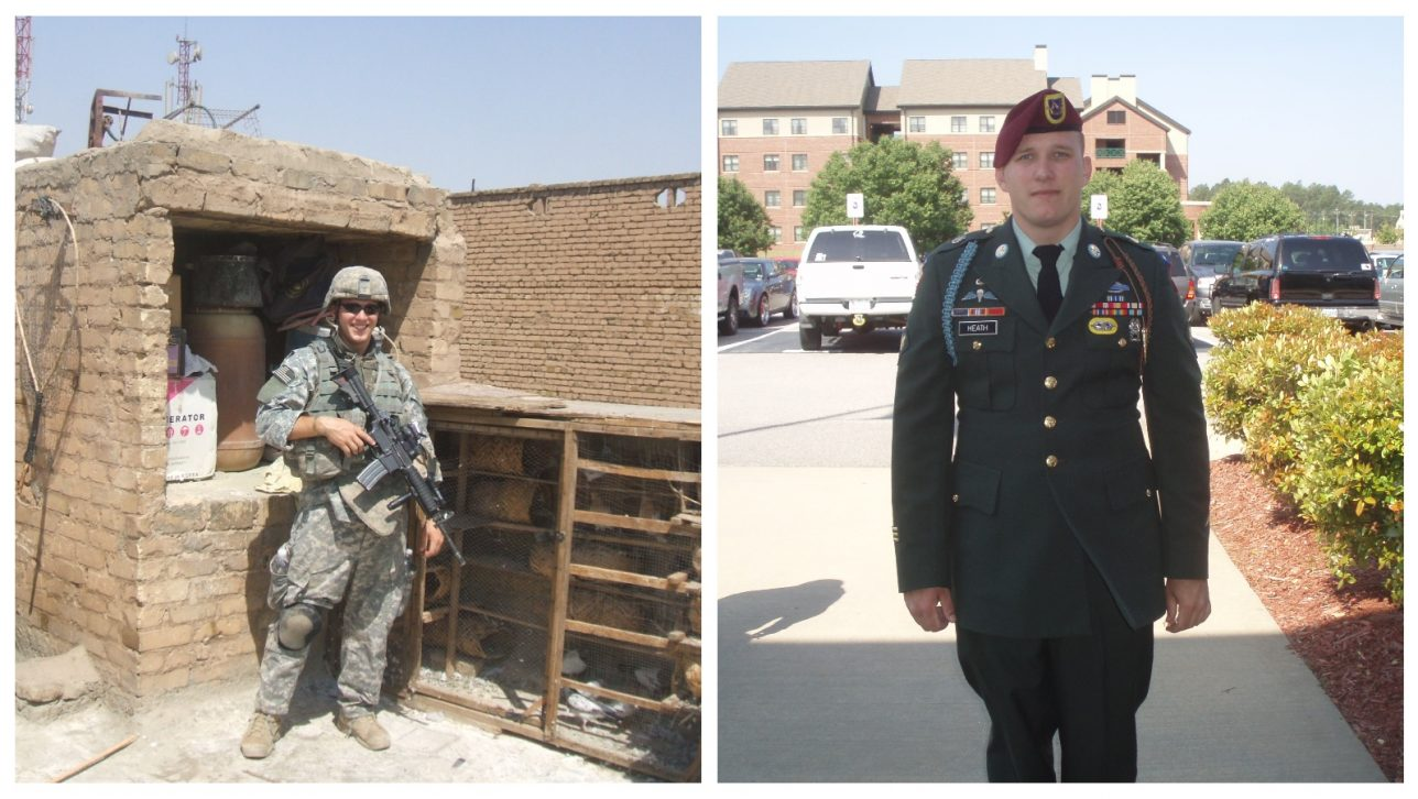 Tyler Heath in Baghdad, Iraq and in uniform