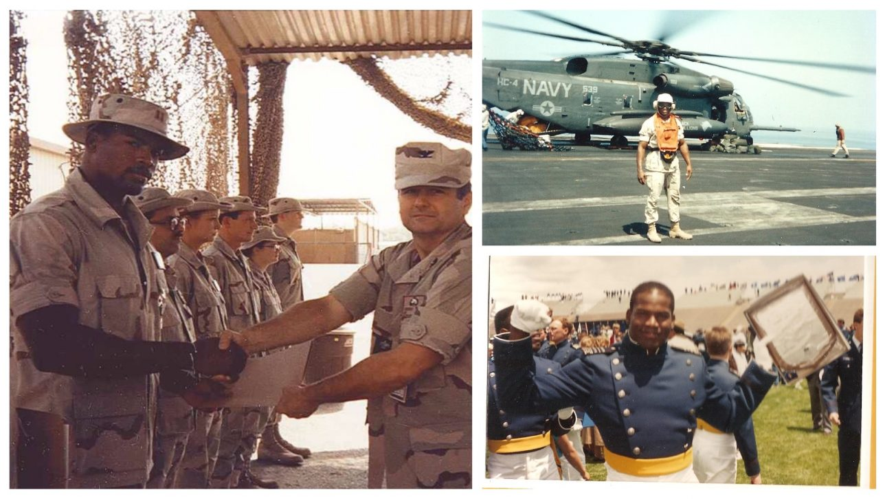 collage of military photos of Richard Lewis, Air Force Officer