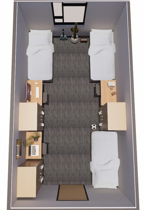 Rendering of a three-bed housing unit.