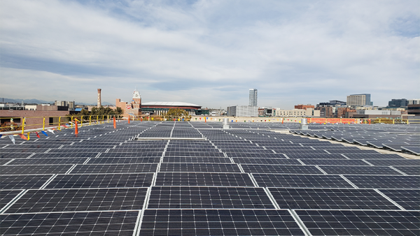 Solar panels on top of the Auraria Library roof