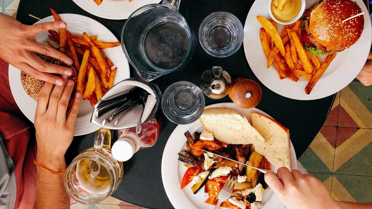 Hamburgers on plates