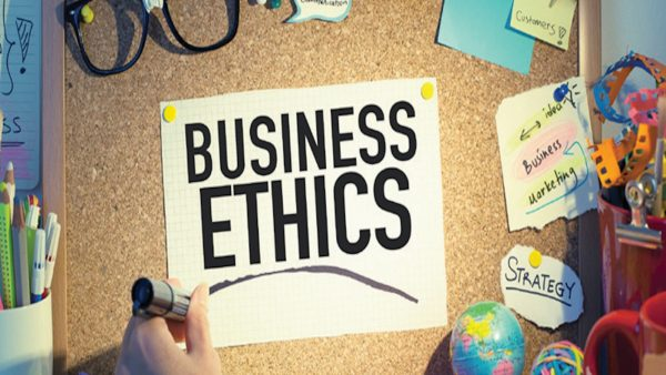 Graphic with the words business ethics
